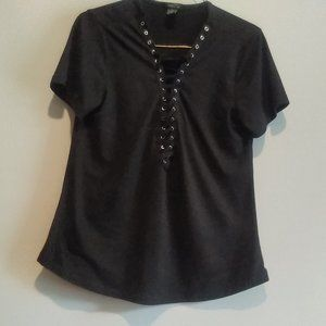 Rue 21 Lace UP Black Tee